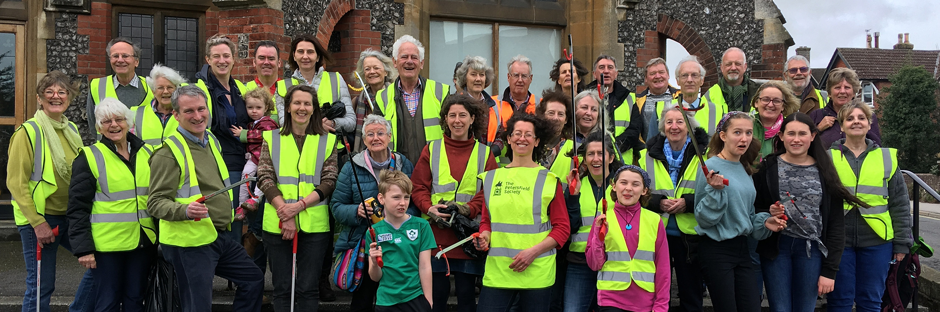 Litter-pickers ready to clean the streets in Petersfield