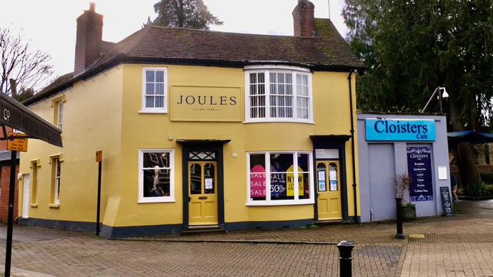 Image of Joules shop in Petersfield with Cloisters alongside